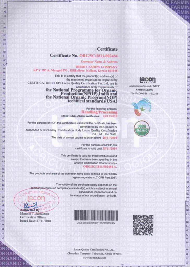 Certified Organic Cashew Nuts Whole Pieces Brc Aa Fssc 2200